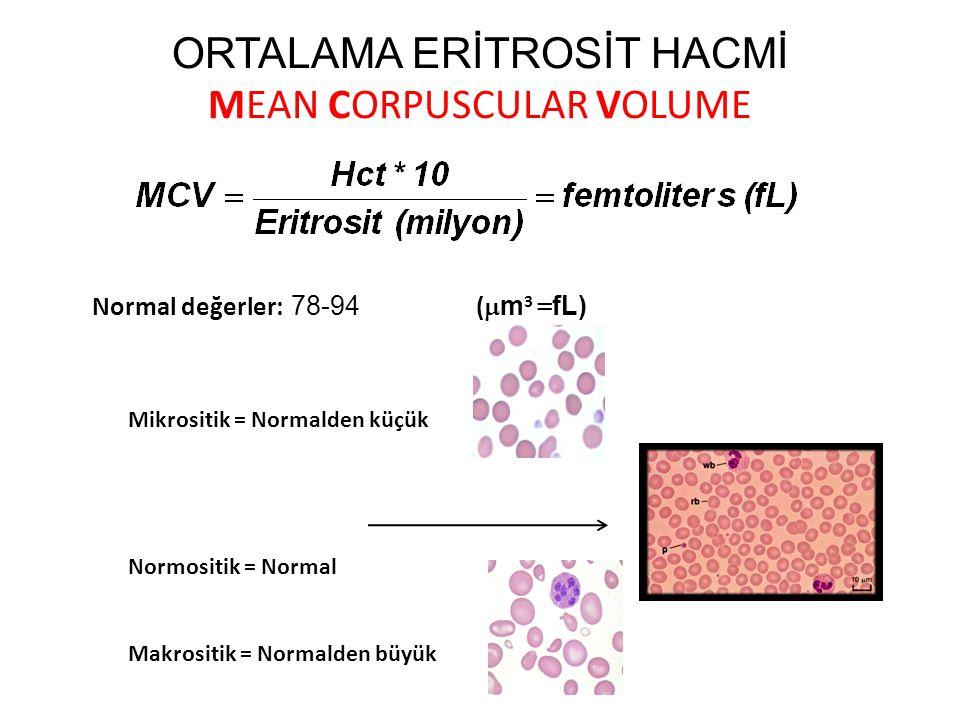 ORTALAMA ERİTROSİT HACMİ MEAN CORPUSCULAR VOLUME Normal değerler: 78-94 (  m 3 = fL) Mikrositik = Normalden küçük Normositik = Normal Makrositik = No