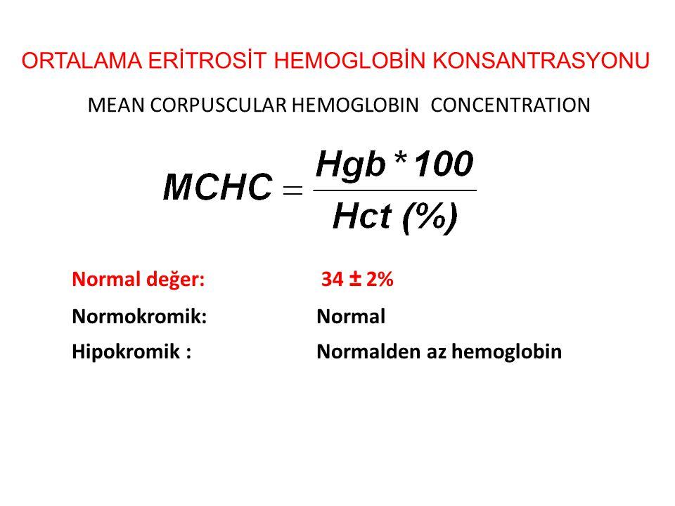 ORTALAMA ERİTROSİT HEMOGLOBİN KONSANTRASYONU MEAN CORPUSCULAR HEMOGLOBIN CONCENTRATION Normal değer: 34 ± 2% Normokromik:Normal Hipokromik :Normalden