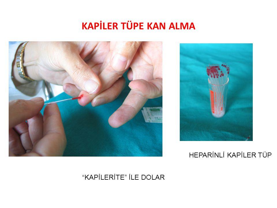 PIHTILAŞMA VE (ANTİ-)KOAGÜLANLARIN ETKİSİ Tüplere maddeler (0,2 ml = 5 damla) konulur ve kan (1 ml) eklenir: 1.+ Kan 2.Sodyum (Na)-sitrat + Kan 3.Heparin + Kan 4.Sodyum (Na)-sitrat + Kan + Kalsiyum (Ca) klorür Pıhtılaşma gözlenerek değerlendirilir.