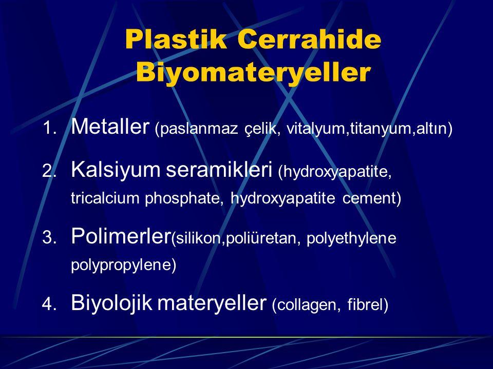 Plastik Cerrahide Biyomateryeller 1.Metaller (paslanmaz çelik, vitalyum,titanyum,altın) 2.