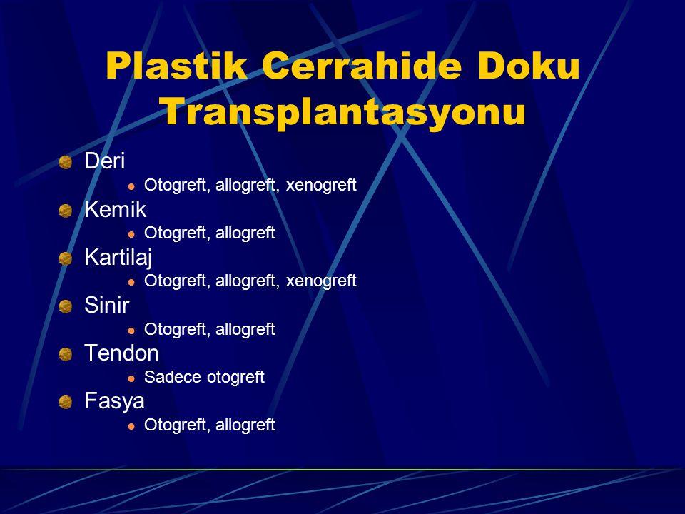 Plastik Cerrahide Doku Transplantasyonu Deri Otogreft, allogreft, xenogreft Kemik Otogreft, allogreft Kartilaj Otogreft, allogreft, xenogreft Sinir Otogreft, allogreft Tendon Sadece otogreft Fasya Otogreft, allogreft