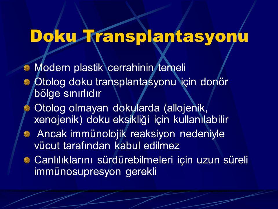 Doku Transplantasyonu Modern plastik cerrahinin temeli Otolog doku transplantasyonu için donör bölge sınırlıdır Otolog olmayan dokularda (allojenik, xenojenik) doku eksikliği için kullanılabilir Ancak immünolojik reaksiyon nedeniyle vücut tarafından kabul edilmez Canlılıklarını sürdürebilmeleri için uzun süreli immünosupresyon gerekli