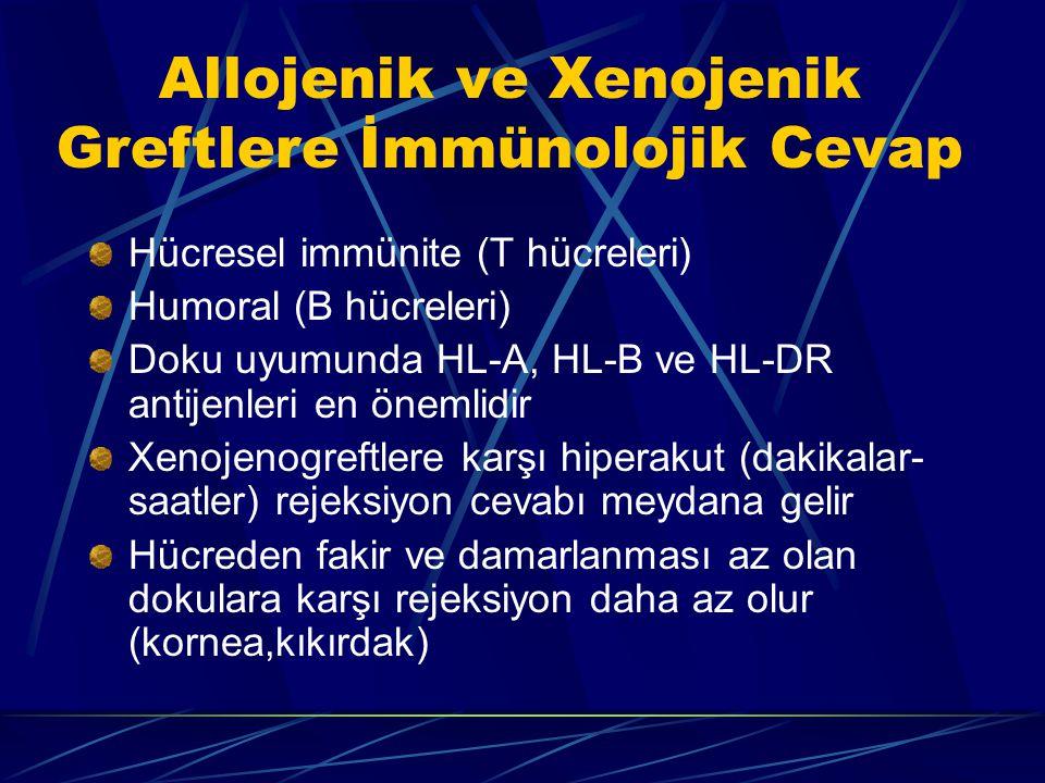 Allojenik ve Xenojenik Greftlere İmmünolojik Cevap Hücresel immünite (T hücreleri) Humoral (B hücreleri) Doku uyumunda HL-A, HL-B ve HL-DR antijenleri en önemlidir Xenojenogreftlere karşı hiperakut (dakikalar- saatler) rejeksiyon cevabı meydana gelir Hücreden fakir ve damarlanması az olan dokulara karşı rejeksiyon daha az olur (kornea,kıkırdak)