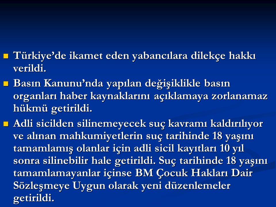 Türkiye'de ikamet eden yabancılara dilekçe hakkı verildi. Türkiye'de ikamet eden yabancılara dilekçe hakkı verildi. Basın Kanunu'nda yapılan değişikli