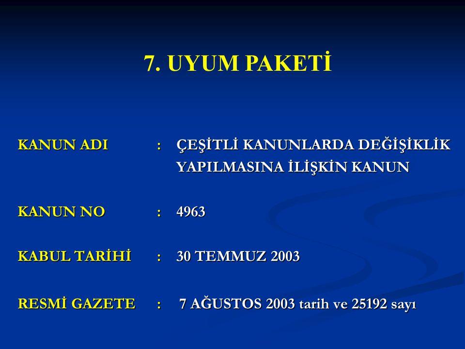 KANUN ADI: ÇEŞİTLİ KANUNLARDA DEĞİŞİKLİK YAPILMASINA İLİŞKİN KANUN YAPILMASINA İLİŞKİN KANUN KANUN NO: 4963 KABUL TARİHİ: 30 TEMMUZ 2003 RESMİ GAZETE