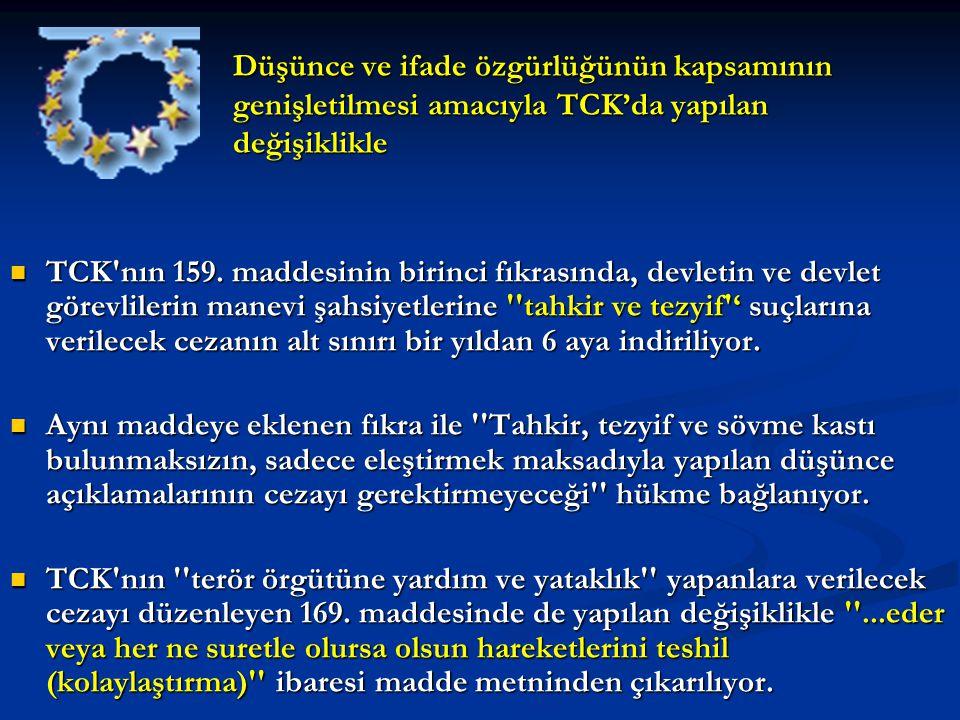 Düşünce ve ifade özgürlüğünün kapsamının genişletilmesi amacıyla TCK'da yapılan değişiklikle TCK'nın 159. maddesinin birinci fıkrasında, devletin ve d