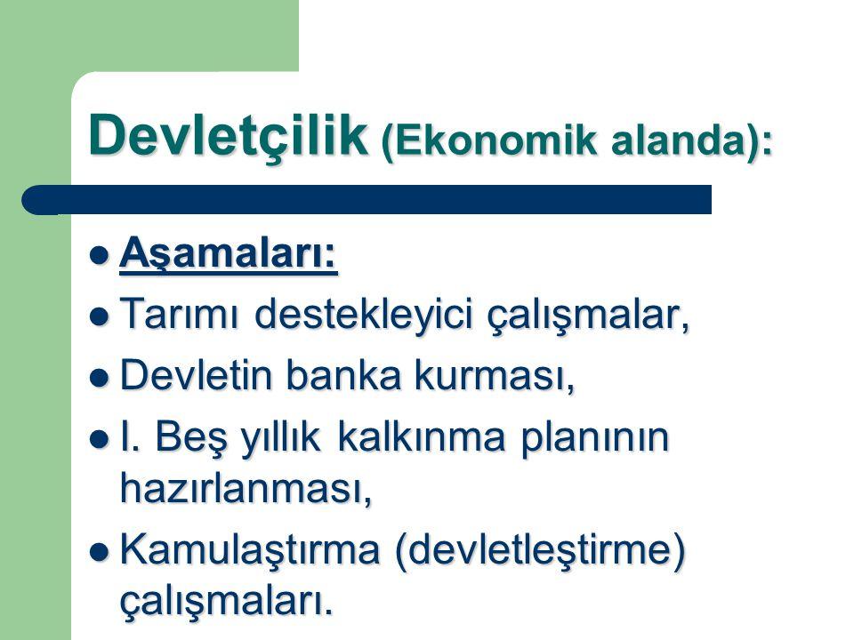 Devletçilik (Ekonomik alanda): Aşamaları: Aşamaları: Tarımı destekleyici çalışmalar, Tarımı destekleyici çalışmalar, Devletin banka kurması, Devletin