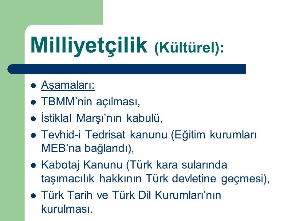 Milliyetçilik (Kültürel): Aşamaları: TBMM'nin açılması, İstiklal Marşı'nın kabulü, Tevhid-i Tedrisat kanunu (Eğitim kurumları MEB'na bağlandı), Kabota