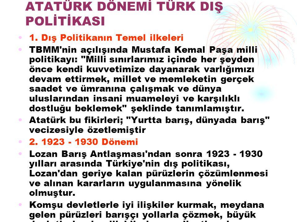 ATATÜRK DÖNEMİ TÜRK DIŞ POLİTİKASI 1. Dış Politikanın Temel ilkeleri TBMM'nin açılışında Mustafa Kemal Paşa milli politikayı:
