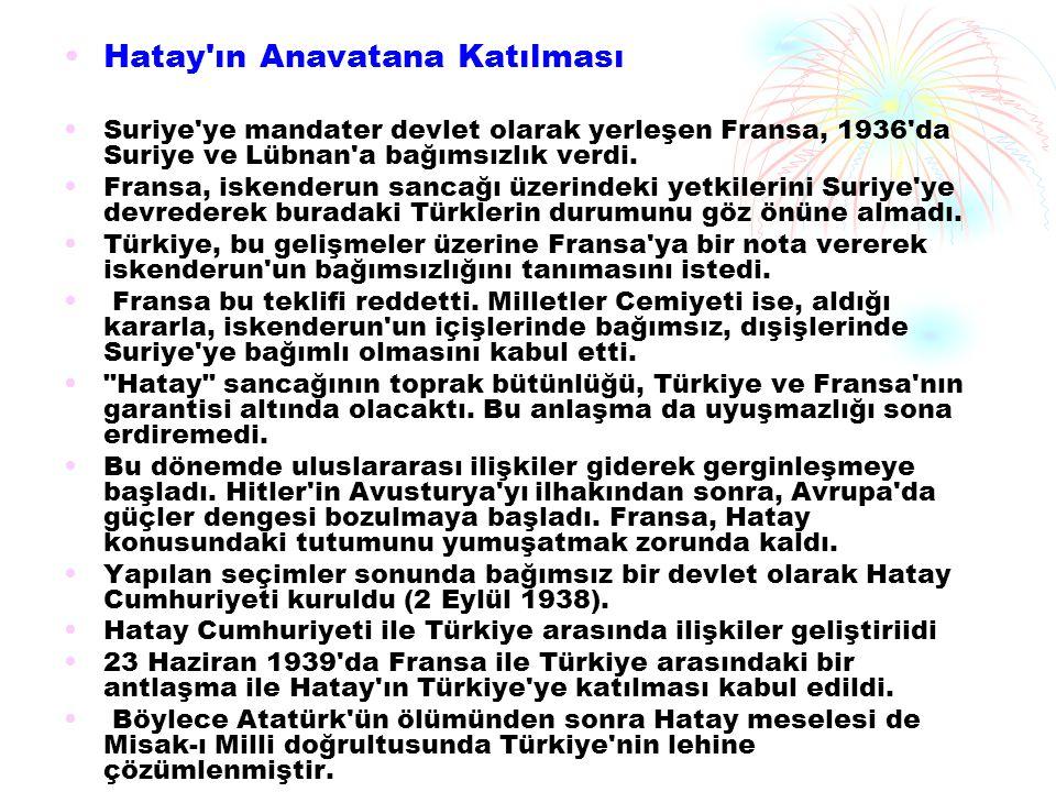 Hatay'ın Anavatana Katılması Suriye'ye mandater devlet olarak yerleşen Fransa, 1936'da Suriye ve Lübnan'a bağımsızlık verdi. Fransa, iskenderun sancağ