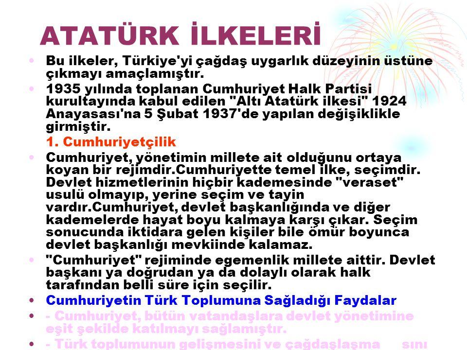 ATATÜRK İLKELERİ Bu ilkeler, Türkiye'yi çağdaş uygarlık düzeyinin üstüne çıkmayı amaçlamıştır. 1935 yılında toplanan Cumhuriyet Halk Partisi kurultayı