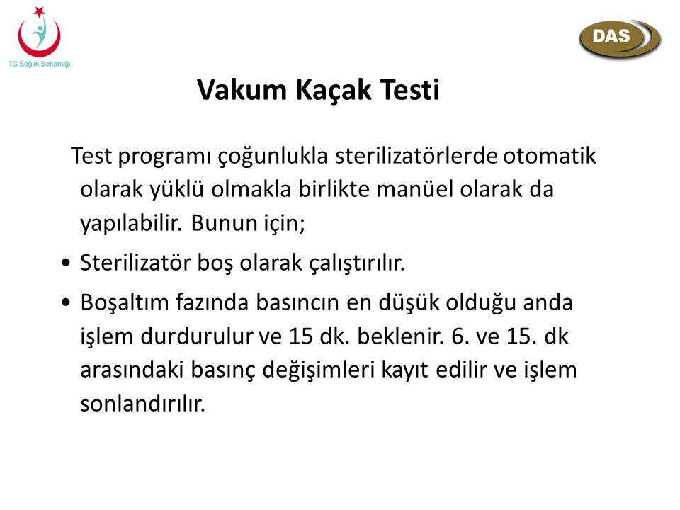 Vakum Kaçak Testi Test programı çoğunlukla sterilizatörlerde otomatik olarak yüklü olmakla birlikte manüel olarak da yapılabilir. Bunun için; Steriliz