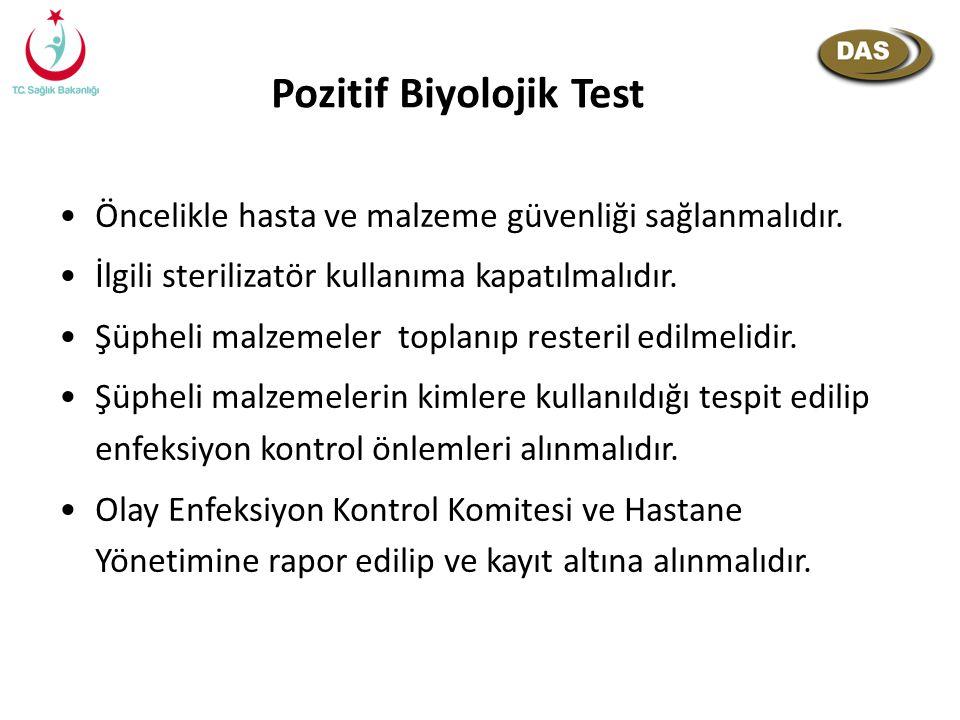 Pozitif Biyolojik Test Öncelikle hasta ve malzeme güvenliği sağlanmalıdır. İlgili sterilizatör kullanıma kapatılmalıdır. Şüpheli malzemeler toplanıp r