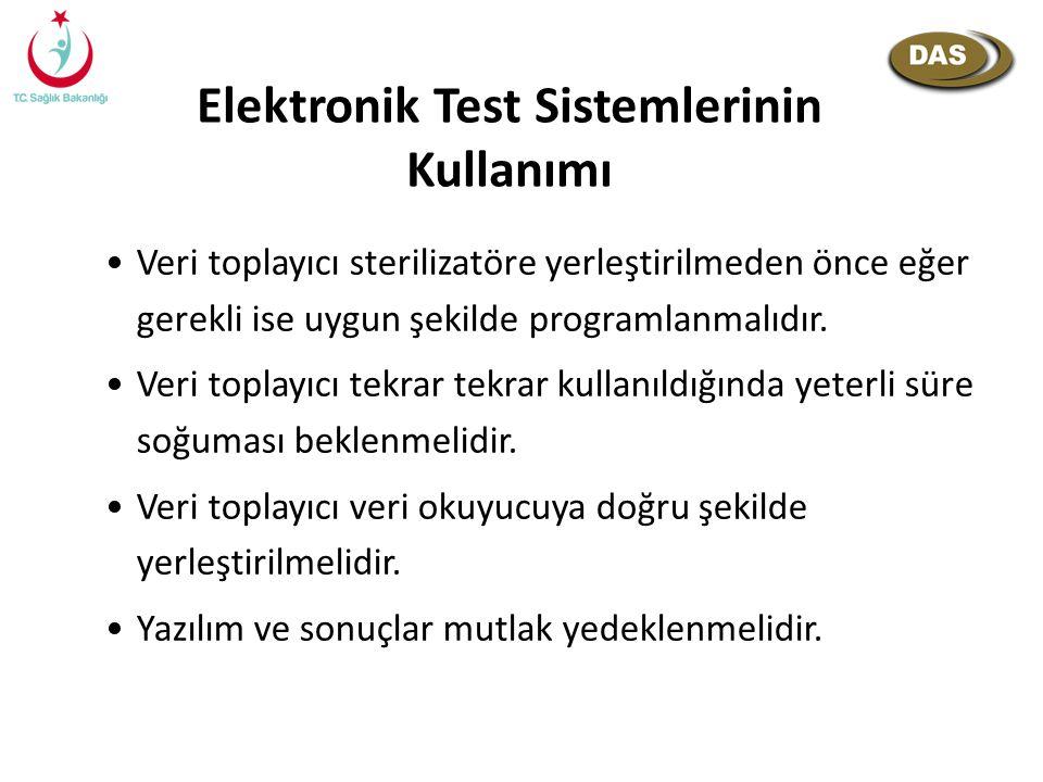 Elektronik Test Sistemlerinin Kullanımı Veri toplayıcı sterilizatöre yerleştirilmeden önce eğer gerekli ise uygun şekilde programlanmalıdır. Veri topl