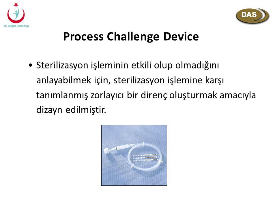 Process Challenge Device Sterilizasyon işleminin etkili olup olmadığını anlayabilmek için, sterilizasyon işlemine karşı tanımlanmış zorlayıcı bir dire
