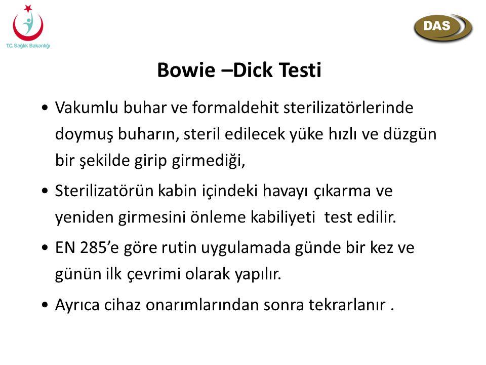 Bowie –Dick Testi Vakumlu buhar ve formaldehit sterilizatörlerinde doymuş buharın, steril edilecek yüke hızlı ve düzgün bir şekilde girip girmediği, S