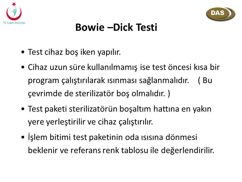 Bowie –Dick Testi Test cihaz boş iken yapılır. Cihaz uzun süre kullanılmamış ise test öncesi kısa bir program çalıştırılarak ısınması sağlanmalıdır. (