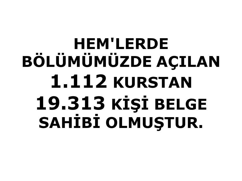 HEM LERDE BÖLÜMÜMÜZDE AÇILAN 1.112 KURSTAN 19.313 KİŞİ BELGE SAHİBİ OLMUŞTUR.