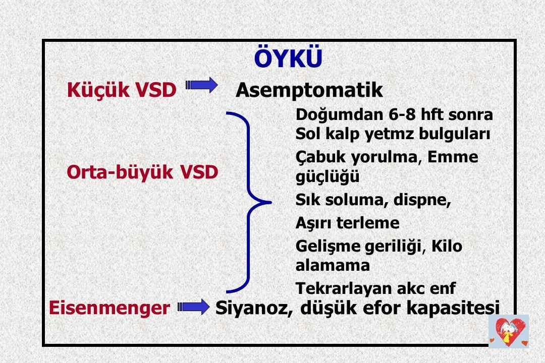 ÖYKÜ Küçük VSD Asemptomatik Orta-büyük VSD Eisenmenger Siyanoz, düşük efor kapasitesi Doğumdan 6-8 hft sonra Sol kalp yetmz bulguları Çabuk yorulma, E