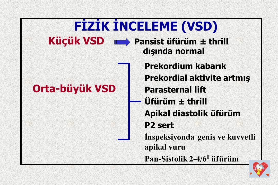 FİZİK İNCELEME (VSD) Küçük VSD Pansist üfürüm ± thrill dışında normal Orta-büyük VSD Prekordium kabarık Prekordial aktivite artmış Parasternal lift Üf
