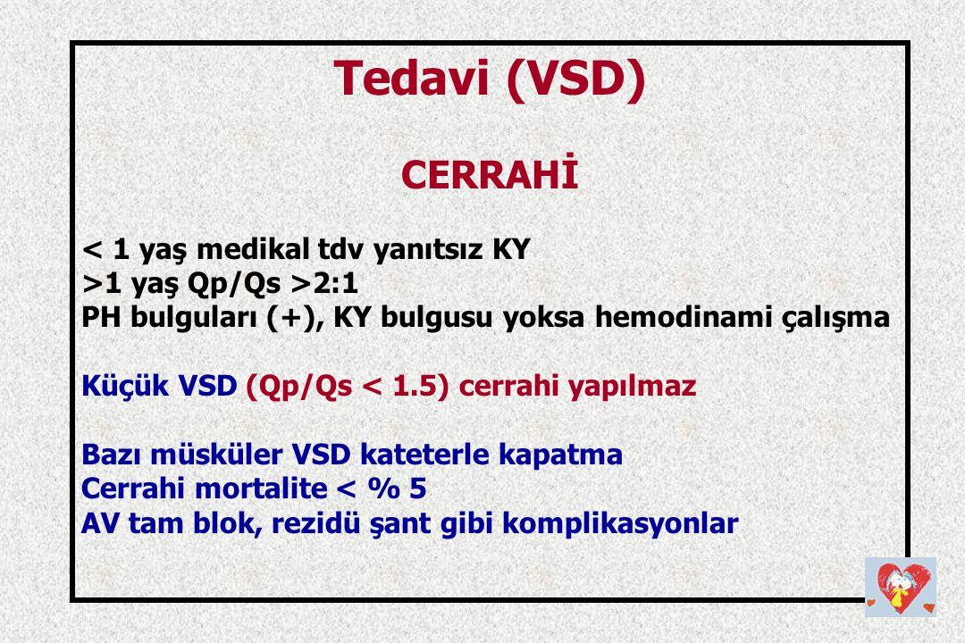Tedavi (VSD) CERRAHİ < 1 yaş medikal tdv yanıtsız KY >1 yaş Qp/Qs >2:1 PH bulguları (+), KY bulgusu yoksa hemodinami çalışma Küçük VSD (Qp/Qs < 1.5) c