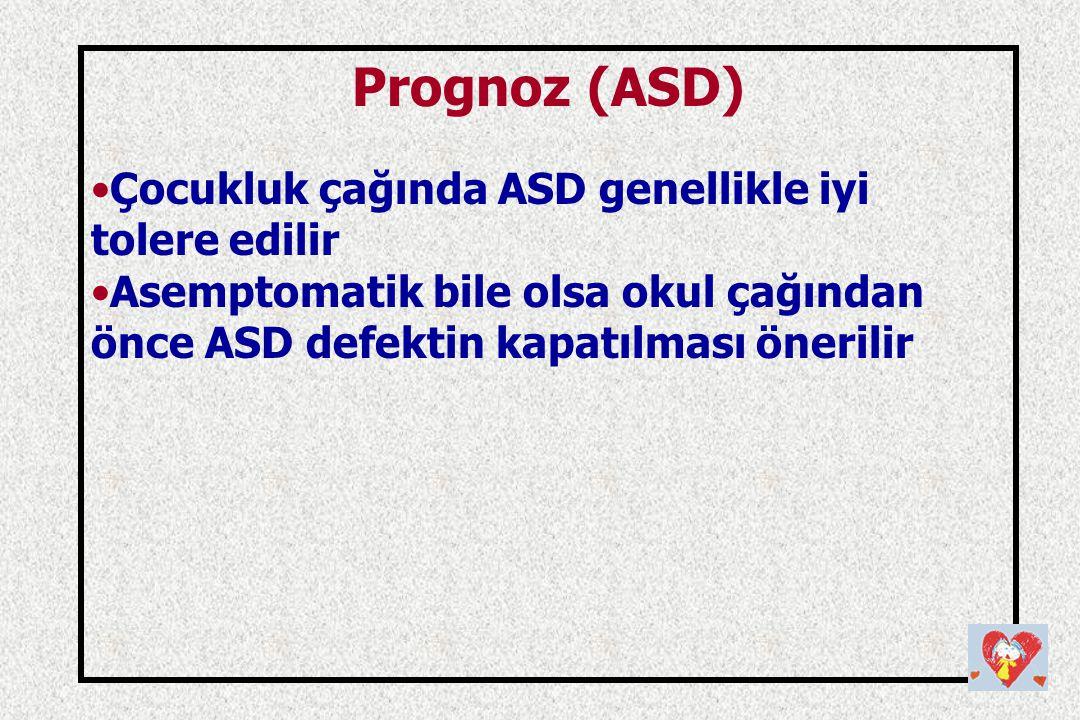 Prognoz (ASD) Çocukluk çağında ASD genellikle iyi tolere edilir Asemptomatik bile olsa okul çağından önce ASD defektin kapatılması önerilir