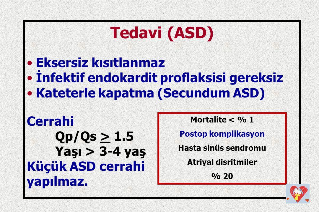 Tedavi (ASD) Eksersiz kısıtlanmaz İnfektif endokardit proflaksisi gereksiz Kateterle kapatma (Secundum ASD) Cerrahi Qp/Qs > 1.5 Yaşı > 3-4 yaş Küçük A