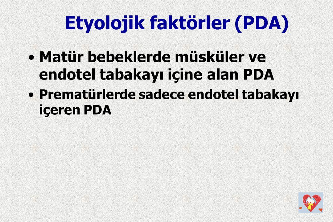 Matür bebeklerde müsküler ve endotel tabakayı içine alan PDA Prematürlerde sadece endotel tabakayı içeren PDA Etyolojik faktörler (PDA)