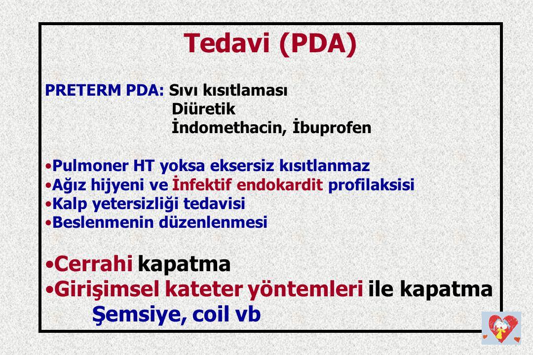 Tedavi (PDA) PRETERM PDA: Sıvı kısıtlaması Diüretik İndomethacin, İbuprofen Pulmoner HT yoksa eksersiz kısıtlanmaz Ağız hijyeni ve İnfektif endokardit