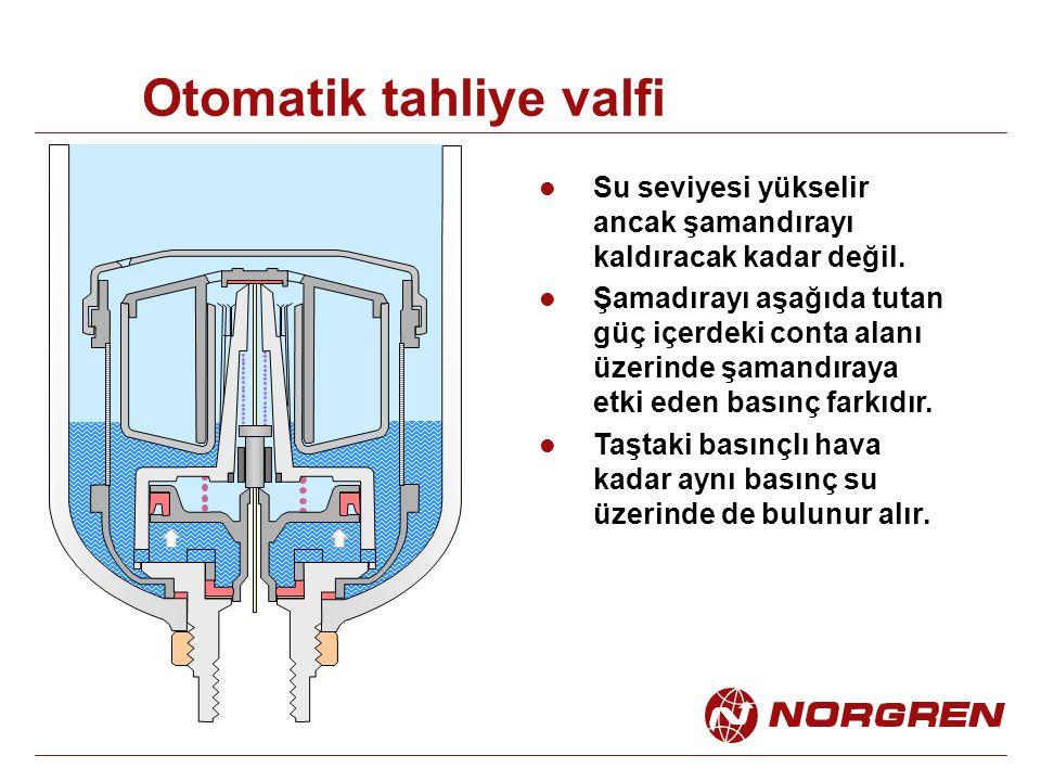 Otomatik tahliye valfi Su seviyesi yükselir ancak şamandırayı kaldıracak kadar değil. Şamadırayı aşağıda tutan güç içerdeki conta alanı üzerinde şaman