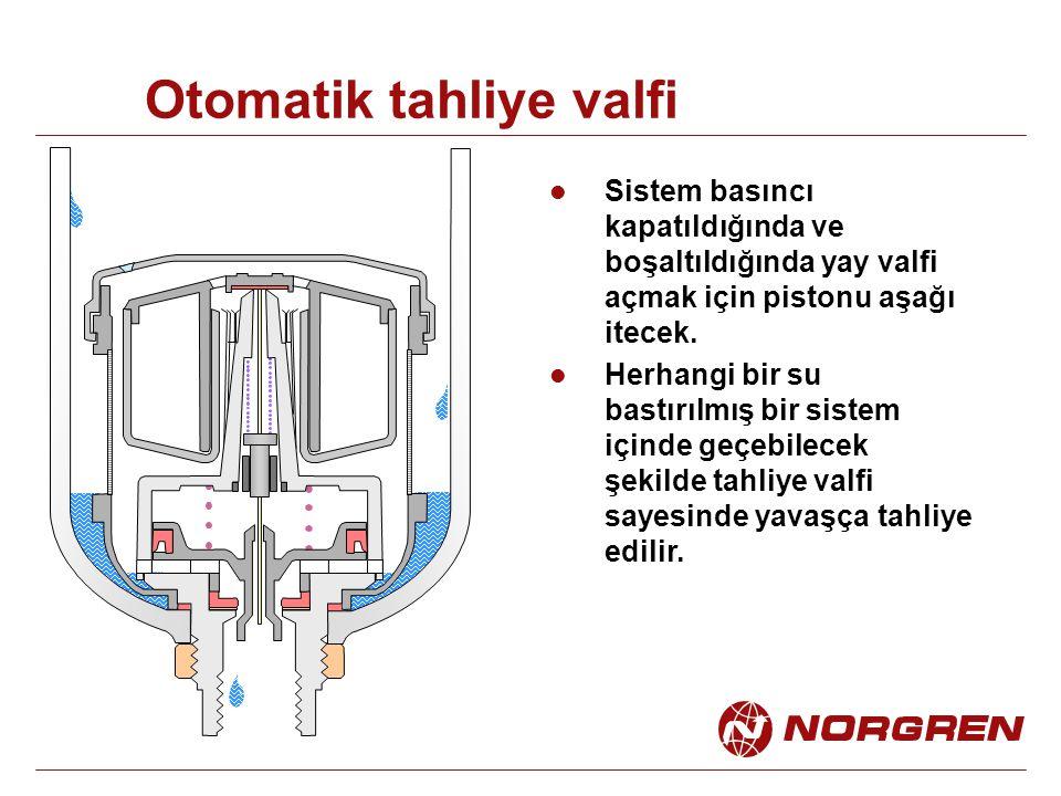 Otomatik tahliye valfi Sistem basıncı kapatıldığında ve boşaltıldığında yay valfi açmak için pistonu aşağı itecek. Herhangi bir su bastırılmış bir sis