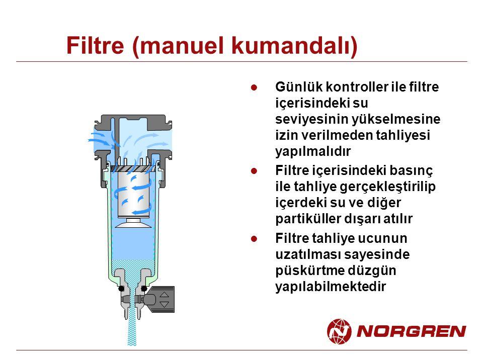 Filtre (manuel kumandalı) Günlük kontroller ile filtre içerisindeki su seviyesinin yükselmesine izin verilmeden tahliyesi yapılmalıdır Filtre içerisindeki basınç ile tahliye gerçekleştirilip içerdeki su ve diğer partiküller dışarı atılır Filtre tahliye ucunun uzatılması sayesinde püskürtme düzgün yapılabilmektedir