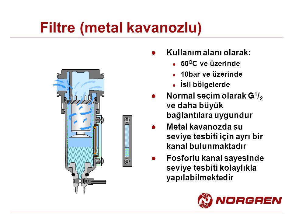 Filtre (metal kavanozlu) Kullanım alanı olarak: 50 O C ve üzerinde 10bar ve üzerinde İsli bölgelerde Normal seçim olarak G 1 / 2 ve daha büyük bağlantılara uygundur Metal kavanozda su seviye tesbiti için ayrı bir kanal bulunmaktadır Fosforlu kanal sayesinde seviye tesbiti kolaylıkla yapılabilmektedir
