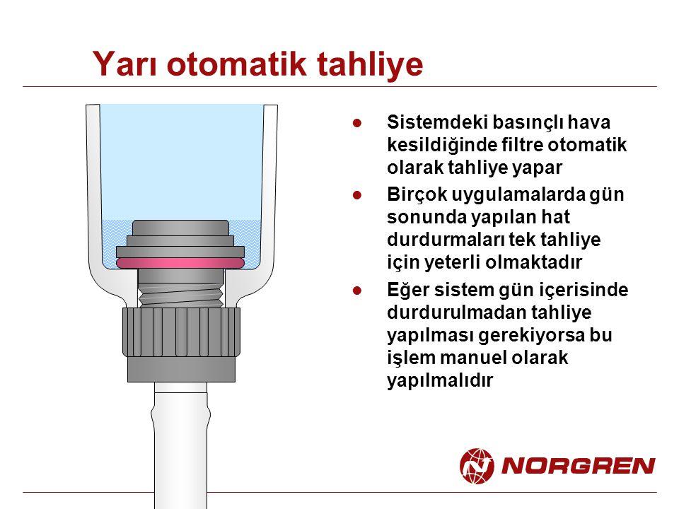 Yarı otomatik tahliye Sistemdeki basınçlı hava kesildiğinde filtre otomatik olarak tahliye yapar Birçok uygulamalarda gün sonunda yapılan hat durdurma