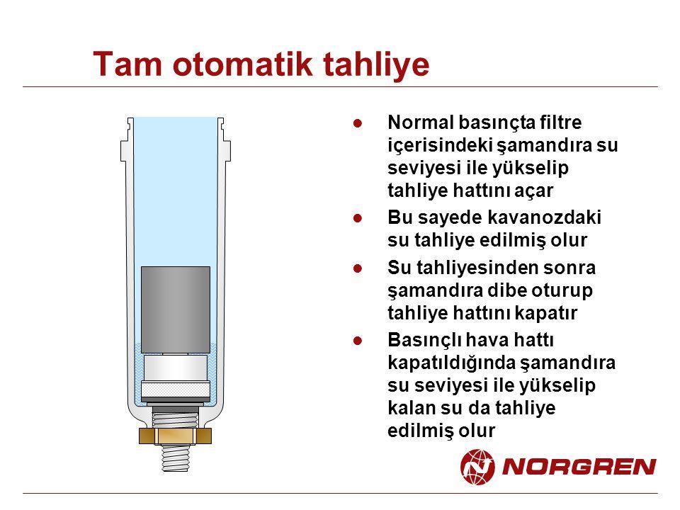 Tam otomatik tahliye Normal basınçta filtre içerisindeki şamandıra su seviyesi ile yükselip tahliye hattını açar Bu sayede kavanozdaki su tahliye edil