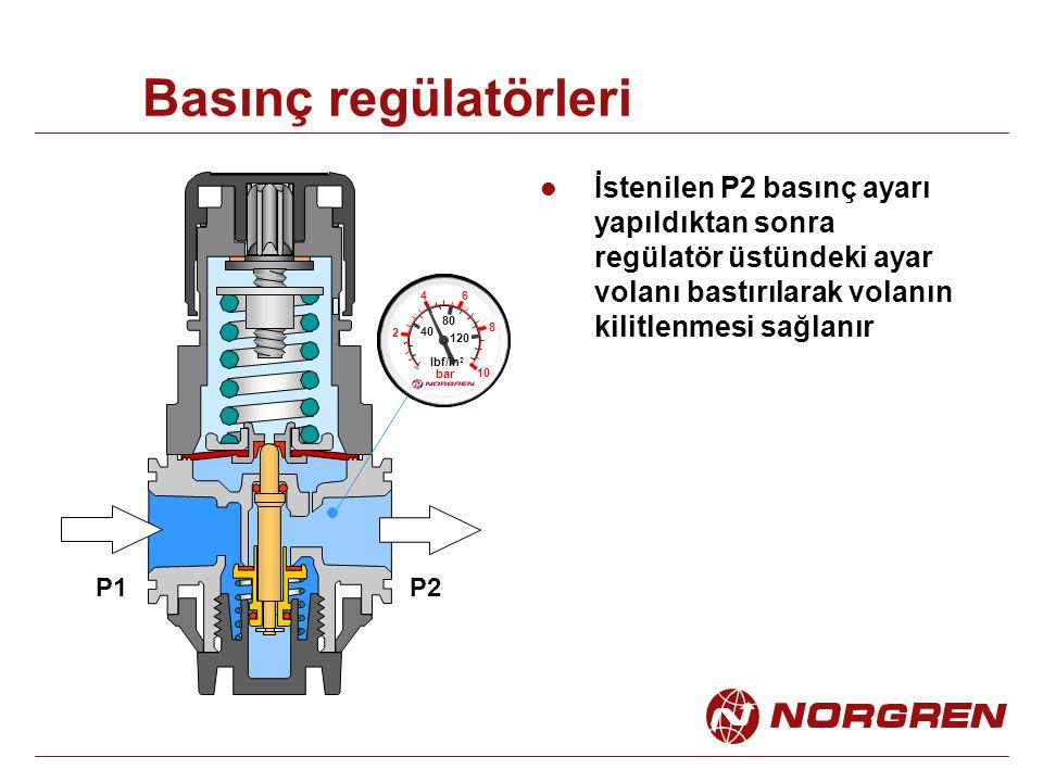 Basınç regülatörleri İstenilen P2 basınç ayarı yapıldıktan sonra regülatör üstündeki ayar volanı bastırılarak volanın kilitlenmesi sağlanır 2 4 6 8 10 40 80 120 lbf/in 2 bar P1P2