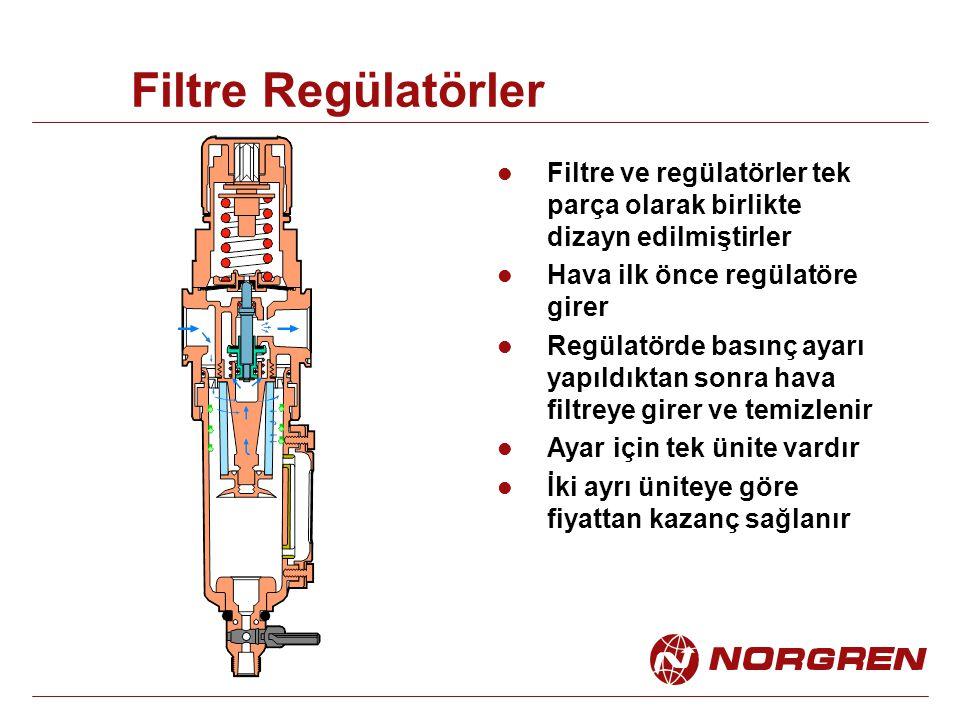 Filtre Regülatörler Filtre ve regülatörler tek parça olarak birlikte dizayn edilmiştirler Hava ilk önce regülatöre girer Regülatörde basınç ayarı yapı