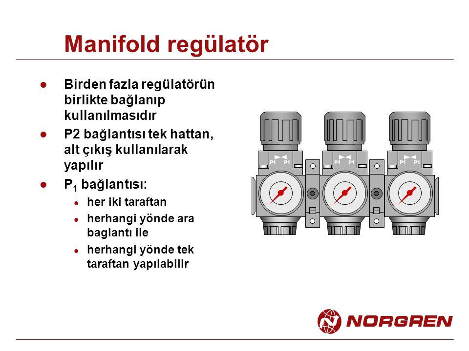Manifold regülatör Birden fazla regülatörün birlikte bağlanıp kullanılmasıdır P2 bağlantısı tek hattan, alt çıkış kullanılarak yapılır P 1 bağlantısı: