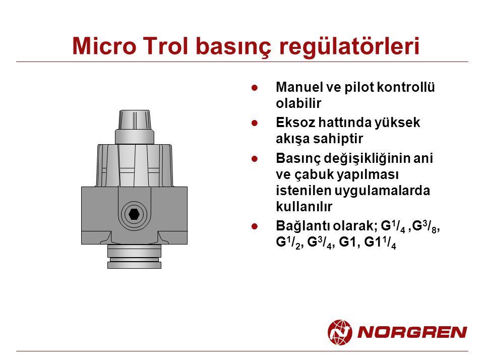 Micro Trol basınç regülatörleri Manuel ve pilot kontrollü olabilir Eksoz hattında yüksek akışa sahiptir Basınç değişikliğinin ani ve çabuk yapılması istenilen uygulamalarda kullanılır Bağlantı olarak; G 1 / 4,G 3 / 8, G 1 / 2, G 3 / 4, G1, G1 1 / 4