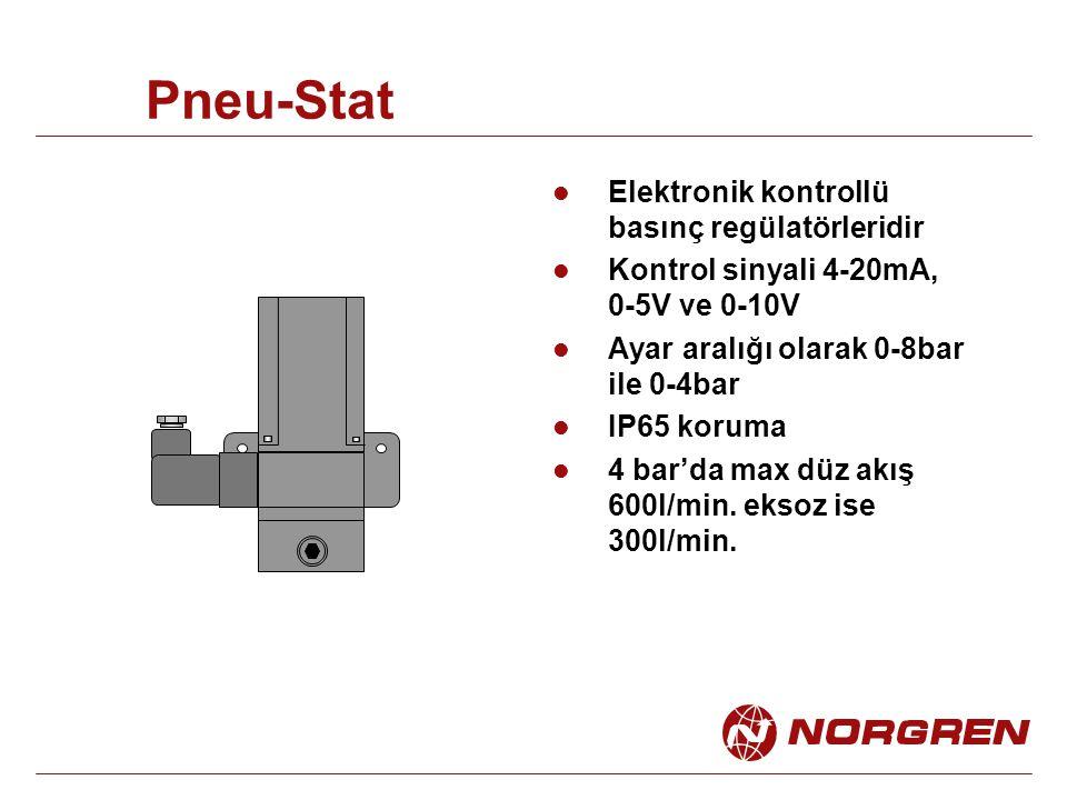 Pneu-Stat Elektronik kontrollü basınç regülatörleridir Kontrol sinyali 4-20mA, 0-5V ve 0-10V Ayar aralığı olarak 0-8bar ile 0-4bar IP65 koruma 4 bar'da max düz akış 600l/min.