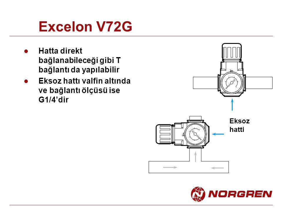 Excelon V72G Hatta direkt bağlanabileceği gibi T bağlantı da yapılabilir Eksoz hattı valfin altında ve bağlantı ölçüsü ise G1/4'dir Eksoz hatti