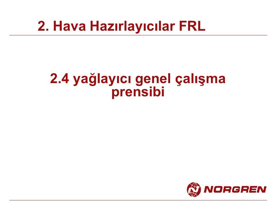 2.4 yağlayıcı genel çalışma prensibi 2. Hava Hazırlayıcılar FRL