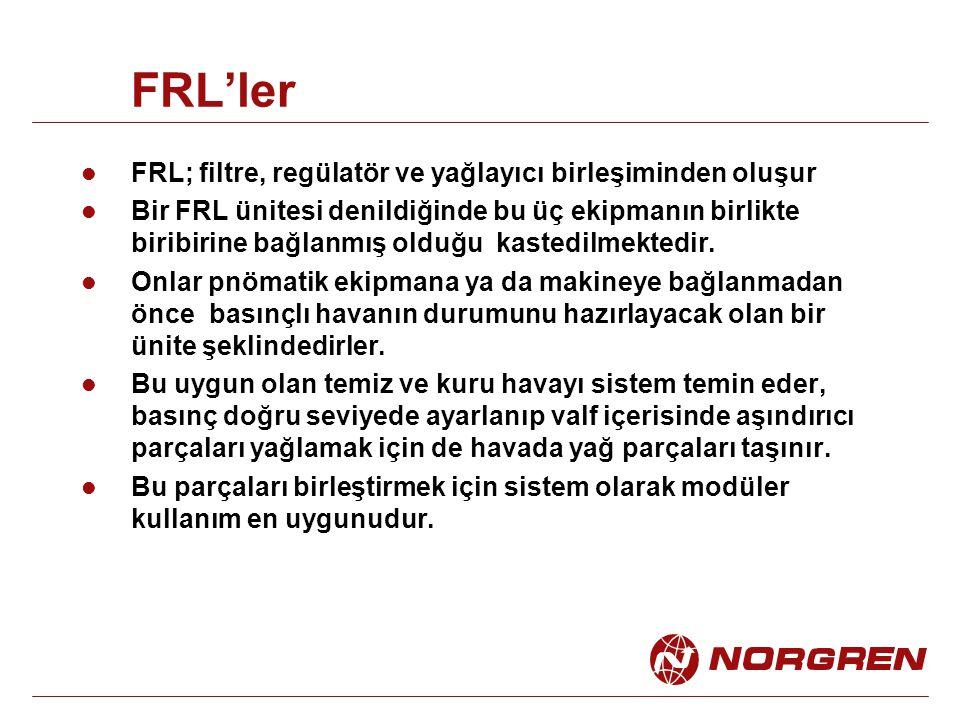 FRL'ler FRL; filtre, regülatör ve yağlayıcı birleşiminden oluşur Bir FRL ünitesi denildiğinde bu üç ekipmanın birlikte biribirine bağlanmış olduğu kas