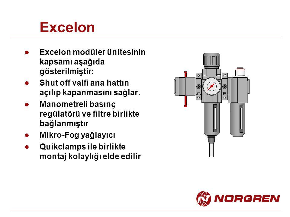 Excelon Excelon modüler ünitesinin kapsamı aşağıda gösterilmiştir: Shut off valfi ana hattın açılıp kapanmasını sağlar. Manometreli basınç regülatörü
