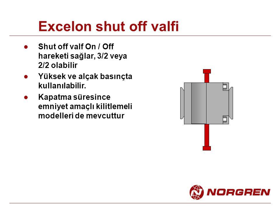 Excelon shut off valfi Shut off valf On / Off hareketi sağlar, 3/2 veya 2/2 olabilir Yüksek ve alçak basınçta kullanılabilir. Kapatma süresince emniye