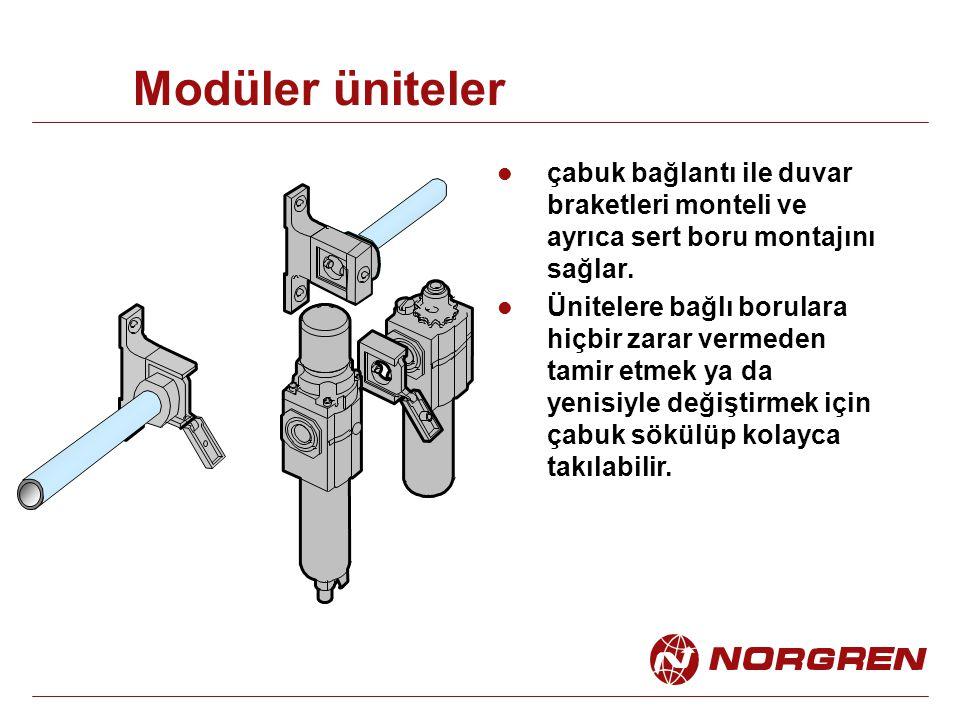 Modüler üniteler çabuk bağlantı ile duvar braketleri monteli ve ayrıca sert boru montajını sağlar. Ünitelere bağlı borulara hiçbir zarar vermeden tami