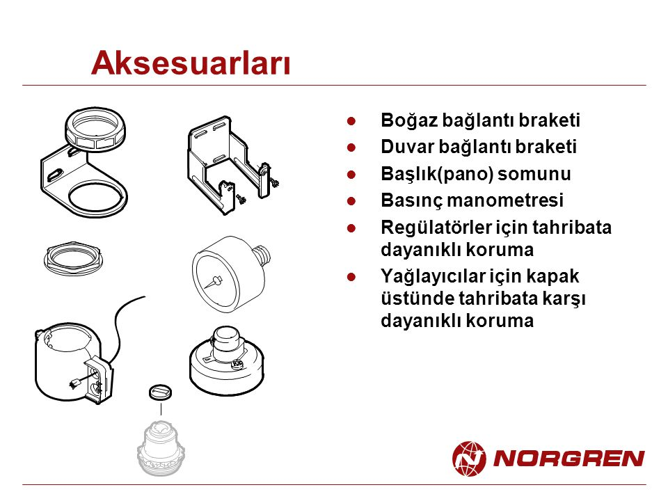 Aksesuarları Boğaz bağlantı braketi Duvar bağlantı braketi Başlık(pano) somunu Basınç manometresi Regülatörler için tahribata dayanıklı koruma Yağlayı