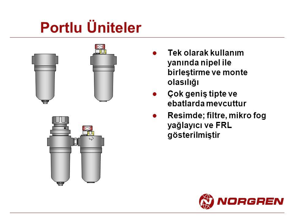 Portlu Üniteler Tek olarak kullanım yanında nipel ile birleştirme ve monte olasılığı Çok geniş tipte ve ebatlarda mevcuttur Resimde; filtre, mikro fog yağlayıcı ve FRL gösterilmiştir