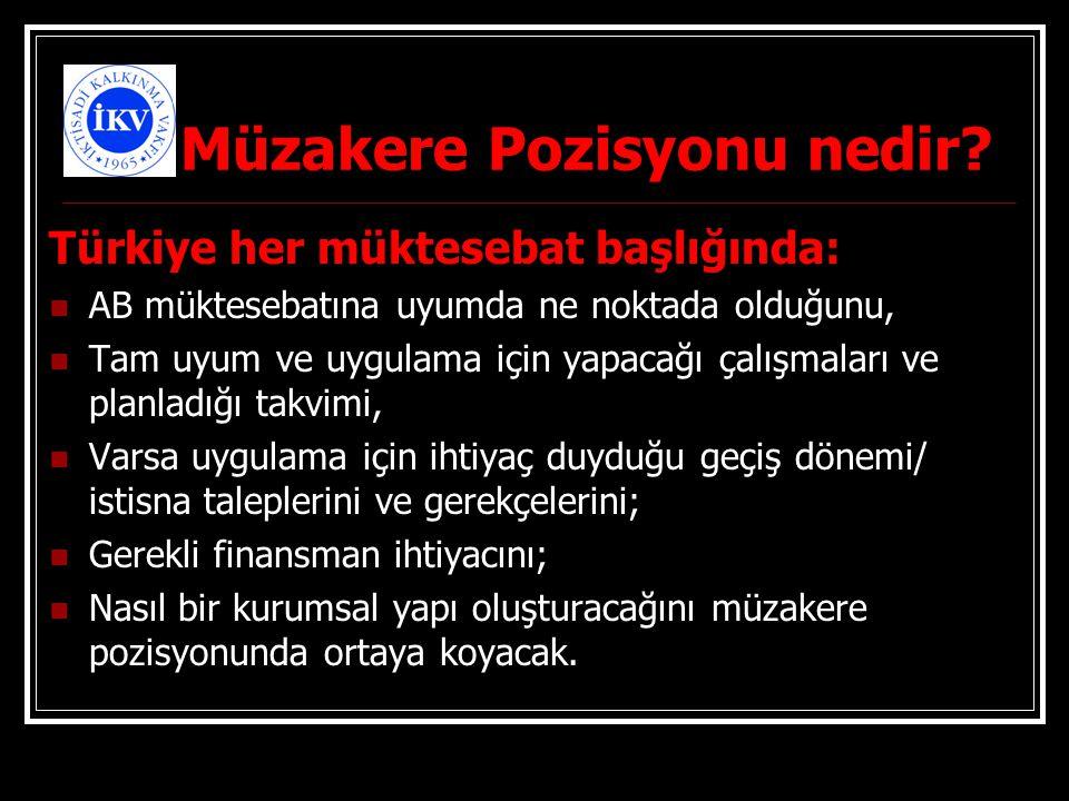 Müzakere Pozisyonu nedir? Türkiye her müktesebat başlığında: AB müktesebatına uyumda ne noktada olduğunu, Tam uyum ve uygulama için yapacağı çalışmala
