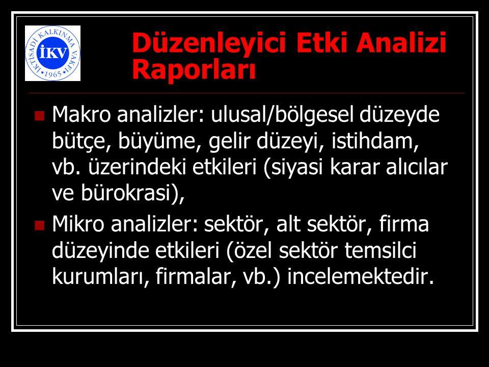 Düzenleyici Etki Analizi Raporları Makro analizler: ulusal/bölgesel düzeyde bütçe, büyüme, gelir düzeyi, istihdam, vb. üzerindeki etkileri (siyasi kar
